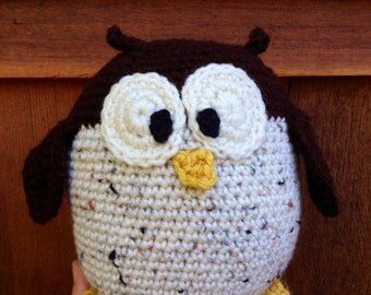 Handmade crochet owl- stuffed animal owl- knit plush owl- handmade chubby owl- stuffed toy owl