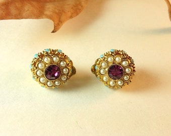 Vintage Pearl Rhinestone Bead Gold Button Clip On Earrings