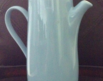 Mid century modern porcelain light blue and white slender coffee/tea pot