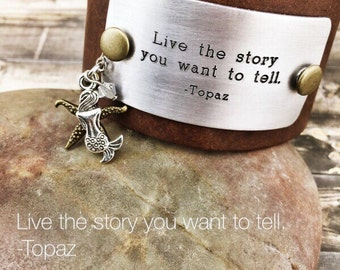 Boho Beach Bracelet, Brown Leather Cuff, Quote Bracelet, Inspirational Leather Bracelet, Live the Story You Want to Tell Quote, Beachy
