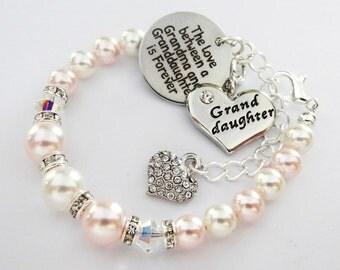 Swarovski - Rosa/White 3bd/2bi*Love between Grandma/Granddaughter R.heart *Bracelet,birthday gift,Christmas,Granddaughter Bracelet , girls