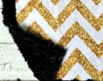 Minky Glitter Chevron Baby Blanket