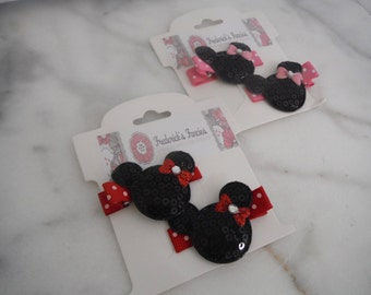 Minnie Mouse Hair Clips - Girls Hair Clips - You choose color