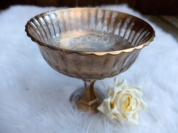 Metallic Bronze Gold Distressed Vase Wedding Centerpiece