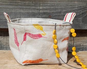 Fabric Basket/Box/Bucket/Storage/Hand Printed/Pure Linen/Falling Leaves