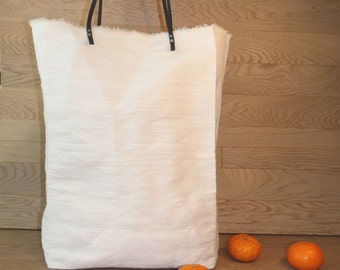 White Canvas Tote Bag-Large Canvas Tote-Women White Tote-Oversize Tote-Market Bag-Unique Holiday gift-Shoulder