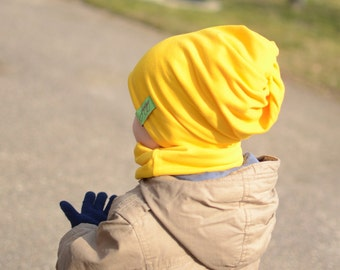 Yellow Slouchy Beanie, Baby Boy Beanie, Baby Girl Hat, Toddler Boy Hat, Toddler Girl Beanie, Reversible Slouch Beanie Hat, Cotton Baby Hat