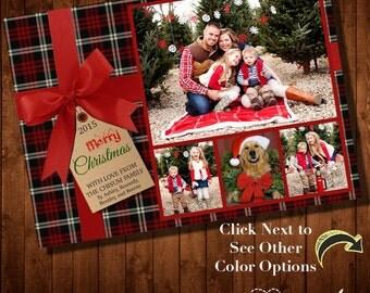 PLAID CHRISTMAS CARD - Multiple Photos - Digital File