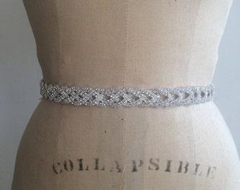Bridal Belt-Bridal Sash-Bridesmaid Belt-Art Deco Rhinestone Beaded Bridal Sash Belt-Bridesmaid Sash-Vintage Rhinestone Crystal Wedding Sash