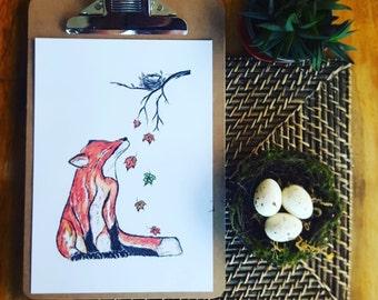 fox art print, fox print, fox in leaves print, fox art, woodland art, woodland art, red fox print, fox in leaves print, fox, fox nursery