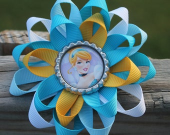 Cinderella hair bow, Cinderella bow, Disney hair bow, Princess bow, Disney bow, hair bow, Cinderella, bow, princess hair bow, Cinderella