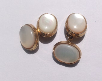 Vintage, Art Deco, mother of pearl double cufflinks.