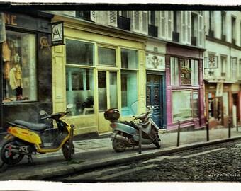 Paris Photo set, 3 photo prints, Large Wall Art Prints, Streets of Paris, Paris Photo Set, Blue Brown Pink Yellow