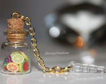 Fruits in a Bottle - Phone dust plug charm, CUTE TINY BOTTLE, bottle charm, glass vial, vial charm, glass bottle, dust plug, phone charm