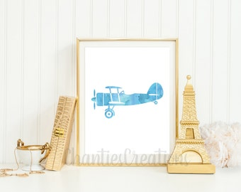 Vintage Airplane Blue Watercolor Wall Art Printable. Airplane Printable For Boys Room Wall Art.