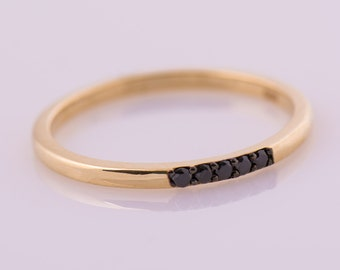 Black Diamond Ring, Thin Band Diamond Ring, 14K Yellow Gold Ring, Five Black Diamonds Ring, Dainty Stackable Ring