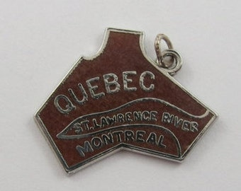 Map of Quebec With Maroon Enamel Sterling Silver Vintage Charm For Bracelet