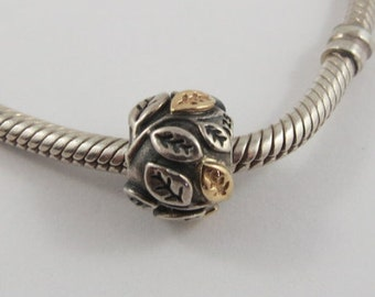 Tree of Life Two-Tone Leaves Sterling Silver Screw Core Pandora Charm