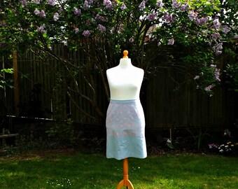 40's Style Skirt, Vintage Style Skirt, Straight Skirt, Floral Skirt, Blue Skirt, Women's Skirt, HandPainted Skirt, Daisy Skirt, Spring Skirt