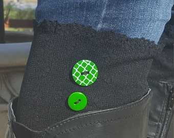 Lace boot cuffs, black lace with green buttons, boot cuffs, boot socks, boot topper, boot accessories
