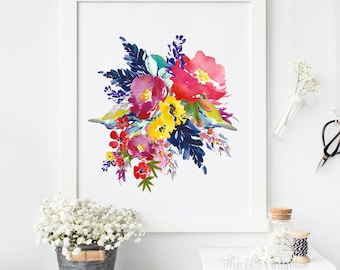 Watercolor Floral, Art Printable, Floral Wall Art, Watercolor Printable, Wall Art Decor, Home Art Printable, Floral Printable, Wall Art