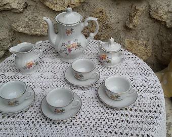 Dinette, porcelain coffee service / french vintage toy tea set / Vintage 60
