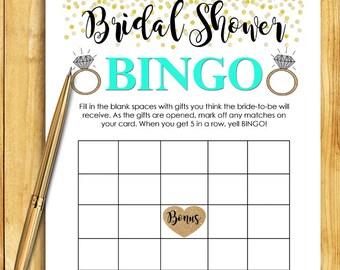 Bridal Shower Game Download - Bridal BINGO Game - MINT & GOLD - Instant Printable Digital Download - diy bachelorette party Printables