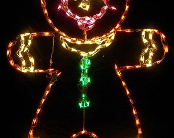 Merry Christmas Gingerbread Man or Boy Wireframe Outdoor Holiday Yard Decoration Commercial Quality