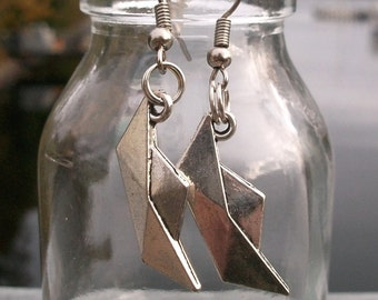 Folding boats earring, Sailboat, ship, silver colors, also as clip-on earrings