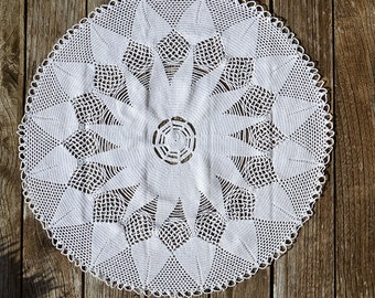 French Hand Crocheted Lace Doily. Large White Cotton Vintage Crochet Table Centrepiece