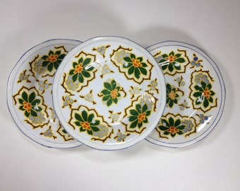 Vintage Antique Plate Set, Serving Plates, Wall Decor, Germany, White, Green, Orange, Yellow, Blue, Gold, Set of Three, Cottage, Victorian