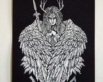Valkyrie A3 Screenprint - vikings, mythology, screenprint, print, norse