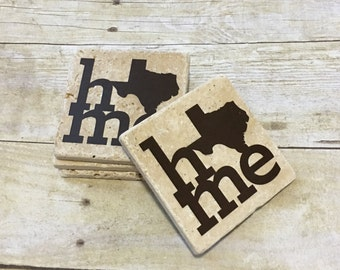 Texas HOME Coasters - State Pride Coasters - Set of 4 Coasters