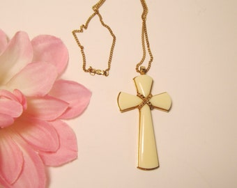 Bone Color Byzantine Vintage Cross and Necklace       (#276)