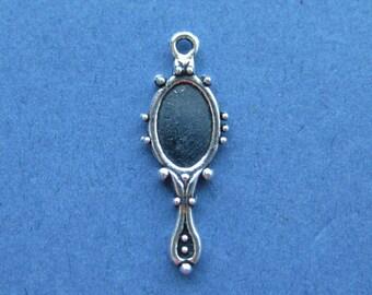 10 Mirror Charm - Mirror Pendant - Mirror - Vintage Mirror - Antique Silver - 27mm x 10mm  -- (No.10-10273)