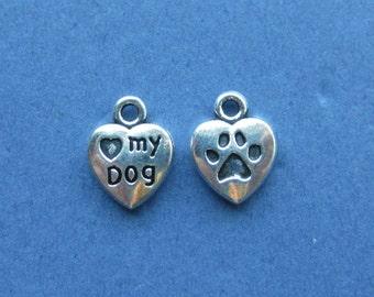 10 Love My Dog Charms - Love My Dog Pendant - Animal Charm - Dog Charm - Heart Charm - Antique Silver - 13mm x 10mm -- (No.12-10059)