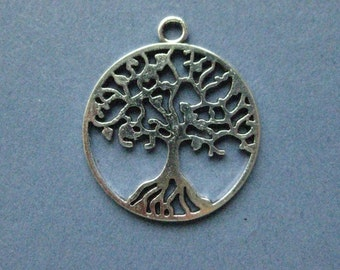 5 Round Tree Charm Pendant - Tree Charm Pendant - Antique Silver - 29mm x 25mm  --(No.60-10312)