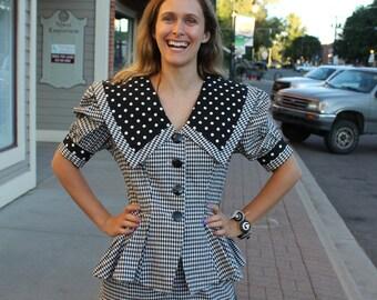 Vintage 80s Black and White Checker Print Dress, Polka Dot, Major Shoulder Pads, Peplum Waist
