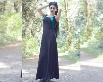 Black sleeveless jersey maxi dress with metallic panels
