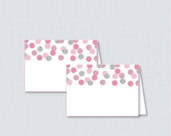 Printable Pink and Silver Bridal Shower Food Tent Cards - Pink and Gray Glitter Polka Dots Bridal Shower Food Labels OR Place Cards - 0001-S