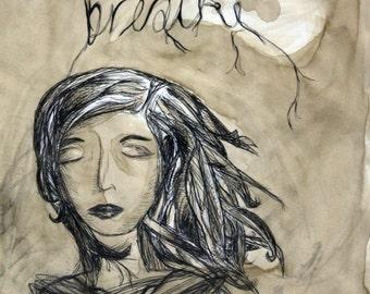 Breathe - Coffee Painting Print