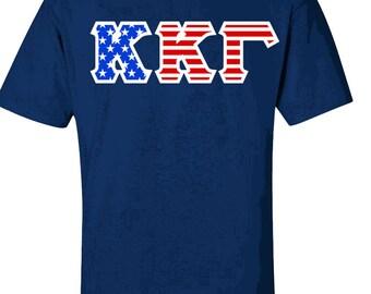 Kappa Kappa Gamma Greek Letter American Flag Tee