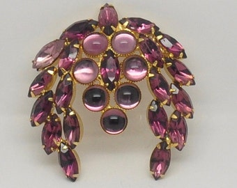 PRICE REDUCED! Vintage Juliana D&E Amethyst Rhinestone and Cabochon Brooch