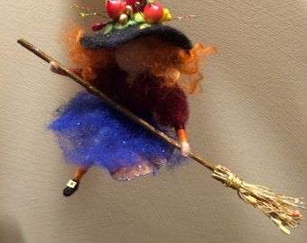 Needle felted Fairy, Waldorf inspired, Witch with magic broom, Halloween, Wool, Art doll, Autumn ornament, Gift