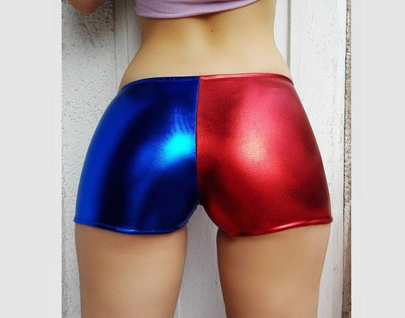 Metallic Harley Quinn shorts. Longer Suicide Squad Cosplay