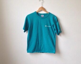 Turquoise 90s Champion Logo Tee