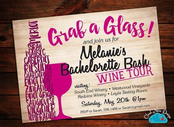Bachelorette Invitation Bachelorette Wine Tasting Wine Tour