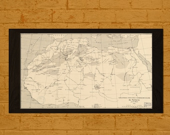 Get 1 Free Print *_* Old Map Trans-Saharan Trading Routes 1889 - Ancient Map Sahara Wall Art Antique Map Poster Home Decor Old Map Prints