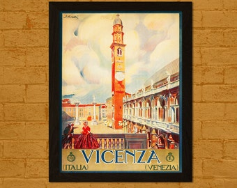 Get 1 Free Print *_* Vicenza Italy Poster 1920s -  Vintage Travel Print Dorm Poster Wall Decor Home Decor Retro Travel Italy Poster Vicenza