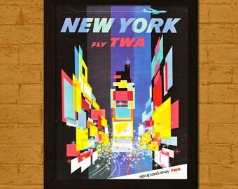Get 1 Free Print *_* New York Travel Poster 1967 - Vintage Travel Print New York Poster Wall Decor Home Decor Retro Travel Poster TWA Poster